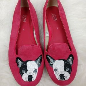 French Bulldog Pink Suede Dog Shoes Puppy Flats